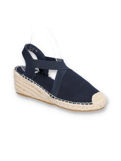 damske modre espadrilkove sandale s elastickou gumou na klinovom opatku BF11 NAVY 2