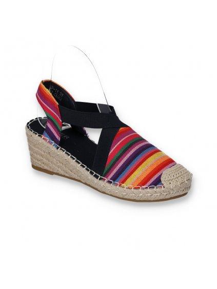 damske farebné espadrilkove sandale s elastickou gumou na klinovom opatku BF11 NAVY-CLR 2