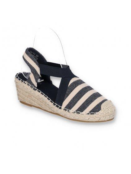 damske tmavomodre espadrilkove sandale s elastickou gumou na klinovom opatku BF11 NAVY-WH 2