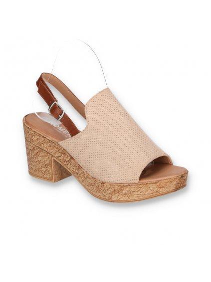 bezove damske semisove sandale s remienkom na opatku DSHK-9 BEIGE 2