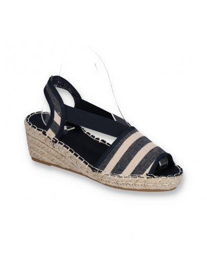 bielo modre damske sandale s elastickou gumou BF-13 NAVY-WH 2
