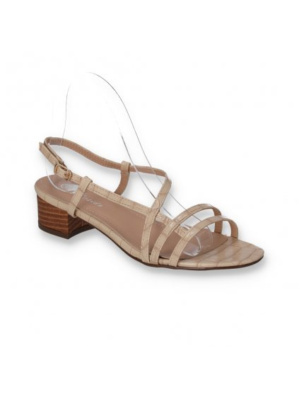 damske bezove sandale na nizkom hrubom opatku FD12-2 BEIGE 2