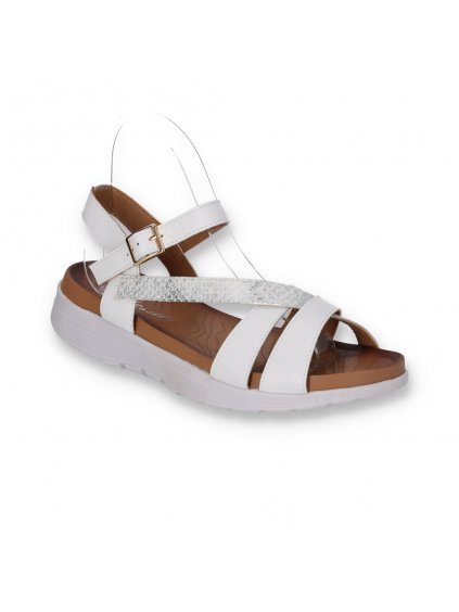 biele damske kozene sandale na platforme DT7302-3 WHITE 2