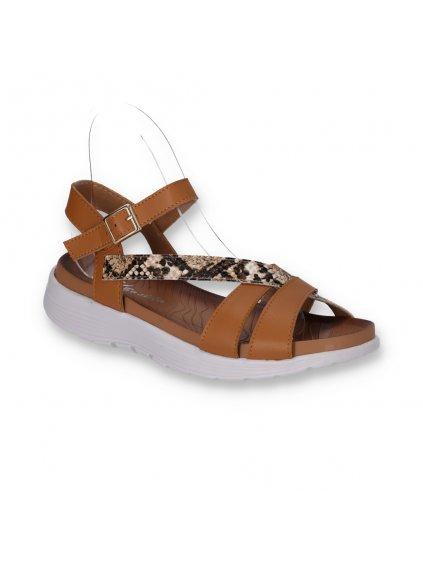 Hnedé dámske sandále na nízkej platforme kožené DT7302-4 (Veľkosť 41)