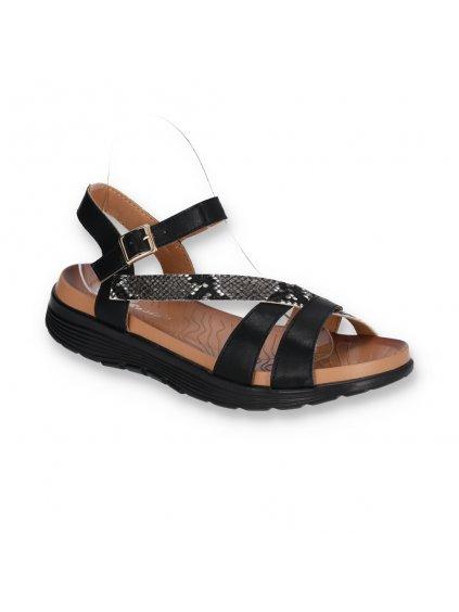 cierne damske kozene sandale s hadim vzorom na nizkej platforme DT7302-1 BLACK 2