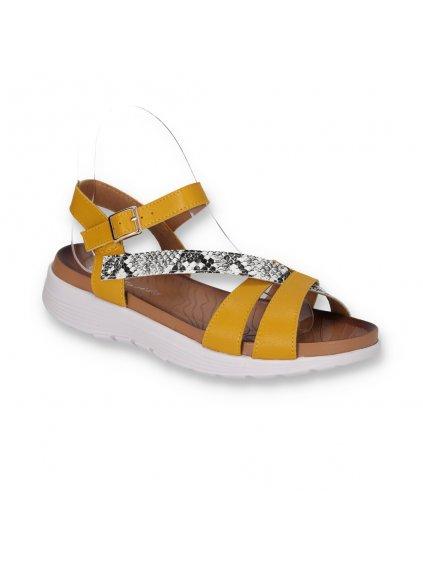 damske sandale kozene na nizkej platforme DT7302-2 YELLOW 2