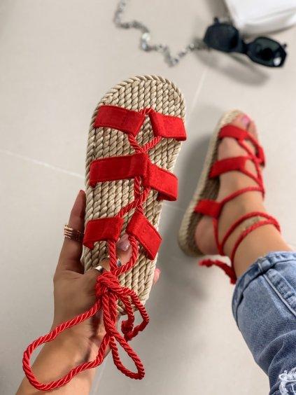 Červené semišové šnúrovacie sandále na platforme OM5353-7