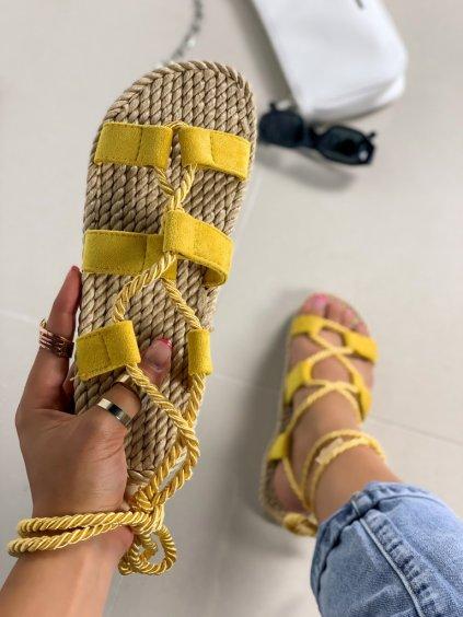 Semišové žlté šnúrovacie sandále na platforme OM5353-8