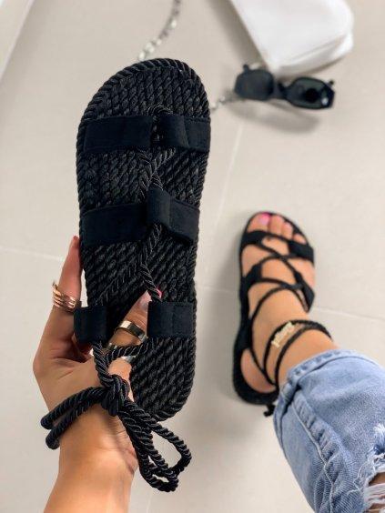 Semišové čierne šnúrovacie sandále na platforme OM5353-1
