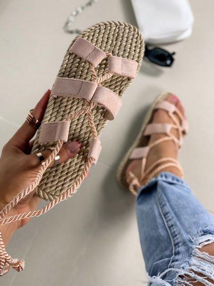 Semišové ružové šnúrovacie sandále na platforme OM5353-6
