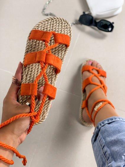 Semišové oranžové šnúrovacie sandále na platforme OM5353-4