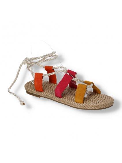 viacfarebne damske semisove sandalky snurovacie OM5353-10 FUCHSIA 2