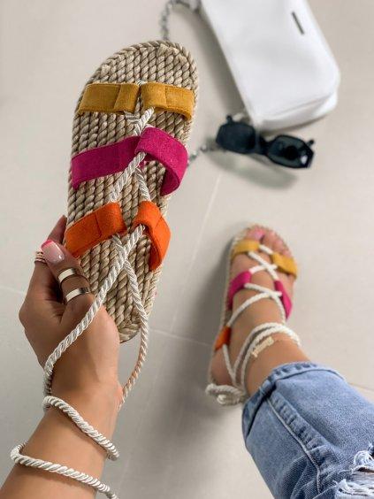 Semišové fialové šnúrovacie sandále na platforme OM5353-10
