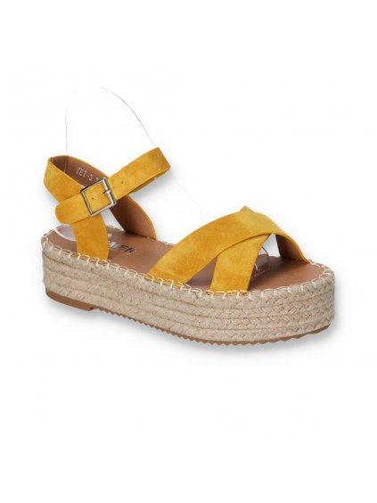 semisove damske sandale na espadrilkovej sandale zlte YET 3 YELLOW 2
