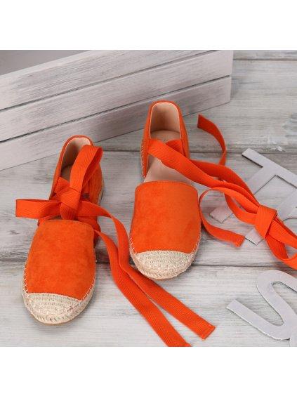 damske espadrilky so stuhami oranzove OM245 15 ORANGE 4