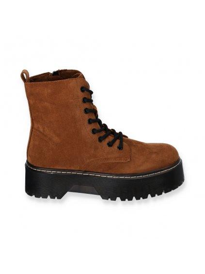hnede damske semisove kotnikove cizmy na platforme XX 01 CAMEL 1