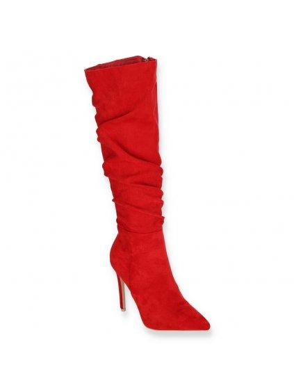 vysoke damske semisove cizmy na podpatku YES 8013 7 RED 2