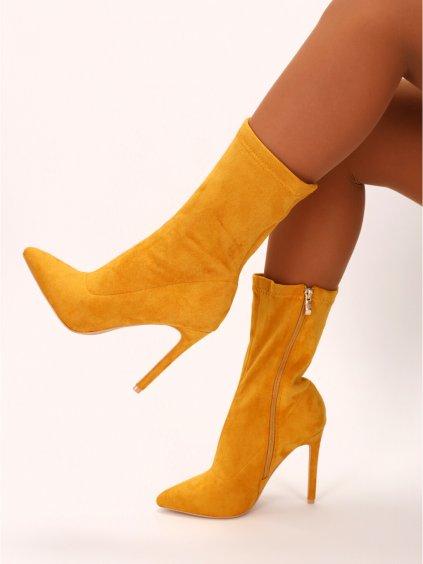 zlte damske cizmy na podpatku 8011YELL 1