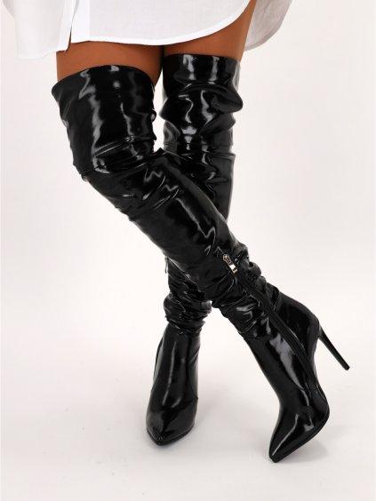 cierne damske cizmy nad koleno K229BLACK 4