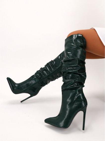 vysoke vzorovane damske cizmy na ihlicovom podpatku K235GREEN 3