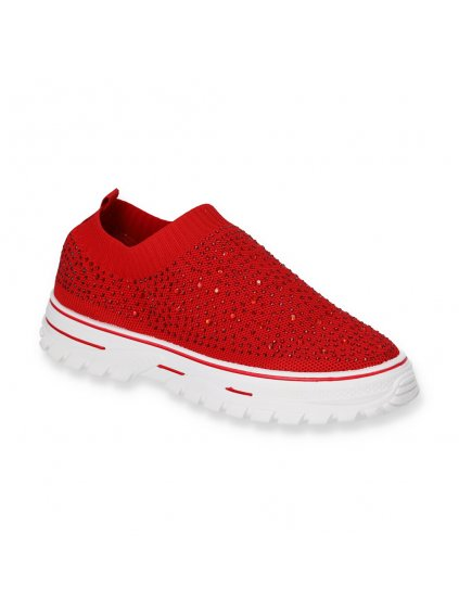cervene damske slip on topanky LC9729 8 RED 2