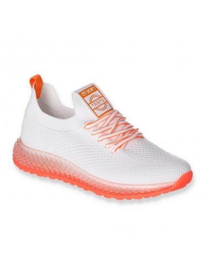 biele damske tenisky s oranžovými doplnkami 2