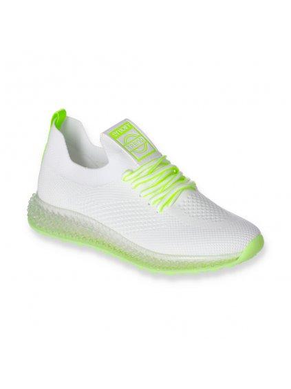 biele damske tenisky na platforme snurovacie J96 5 WH GREEN 2