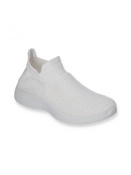 Biele damske slip on tenisky DS8829 2 WHITE 3