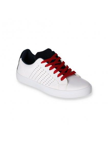 Bielo cervene damske snurovacie tenisky J87 2 WH RED 2