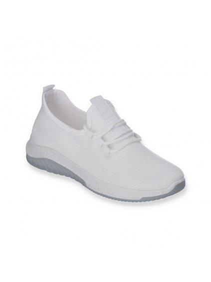 Biele damske latkove snurovacie sportove tenisky J101-5 WHITE 2