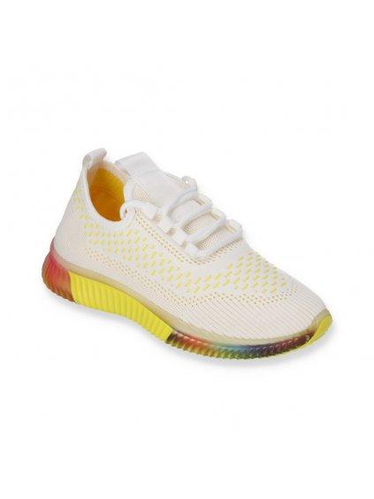 Biele damske latkove tenisky so zltymi doplnkami DS8832-3 YELLOW 2