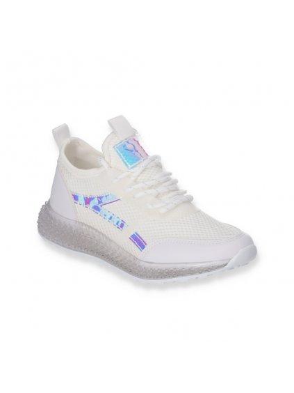 Biele damske tenisky na platforme J95-2 WHITE 2