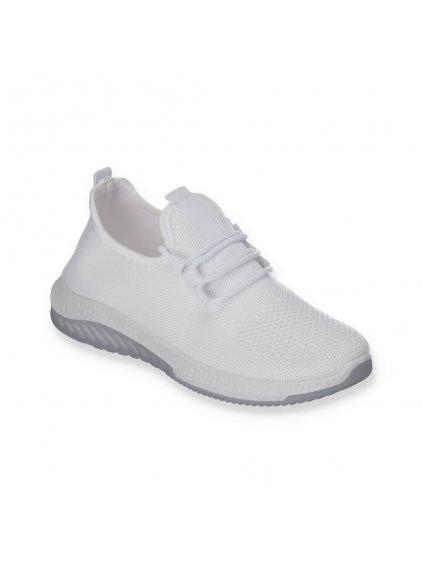 Biele latkove tenisky damske snurovacie sportove J110-3 WHITE 2