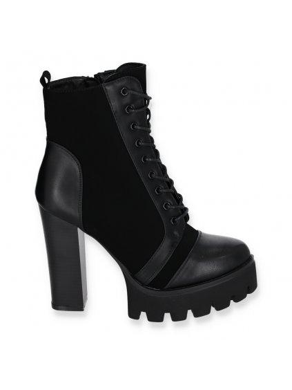 Cierne damske clenkove cizmy na vysokom opatku WA670 BLACK 1