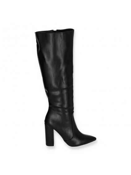 cierne vysoke kozene damske cizmy na podpatku K230 BLACK 1