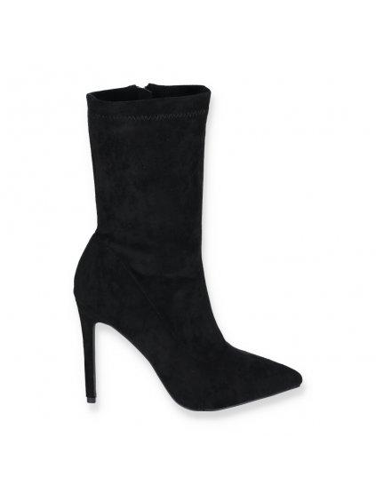 cierne damske semisove ponozkove clenkove cizmy na vysokom tenkom opatku YES 8011 5 BLACK 1