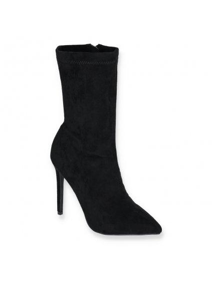 cierne damske semisove ponozkove clenkove cizmy na vysokom tenkom opatku YES 8011 5 BLACK 2