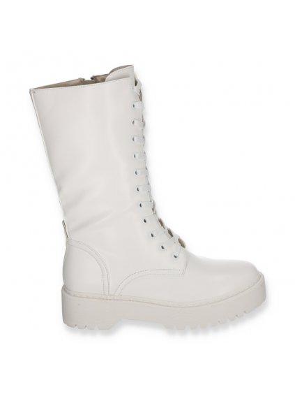 biele damske vysoke workery kozene K239 WHITE 1