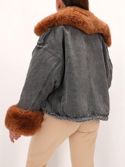 riflova damska bunda tmavosiva s hnedou kozusinou zateplena VJ5362GTa 3
