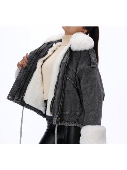 riflova damska bunda tmavosiva s kozusinou zateplena VJ5362GBL 2