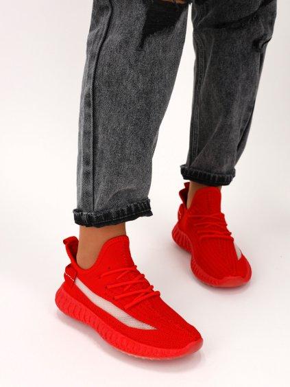 Červené dámske látkové tenisky šnúrovacie J151