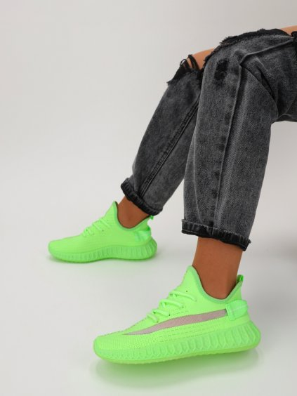 Neonove zele damske tenisky snurovacie latkove J151 F.GREEN 7