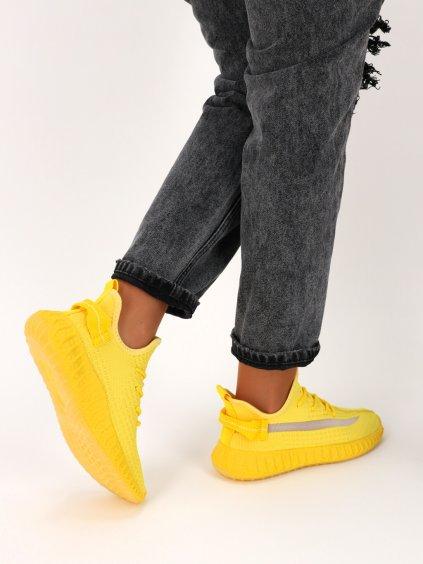 Žlté dámske látkové tenisky šnúrovacie J151