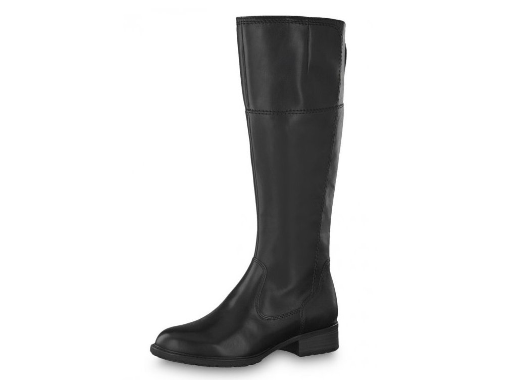 Tamaris-elegantní dámské kozačky na pohodlném podpatku 1-25508-23 černá pz9