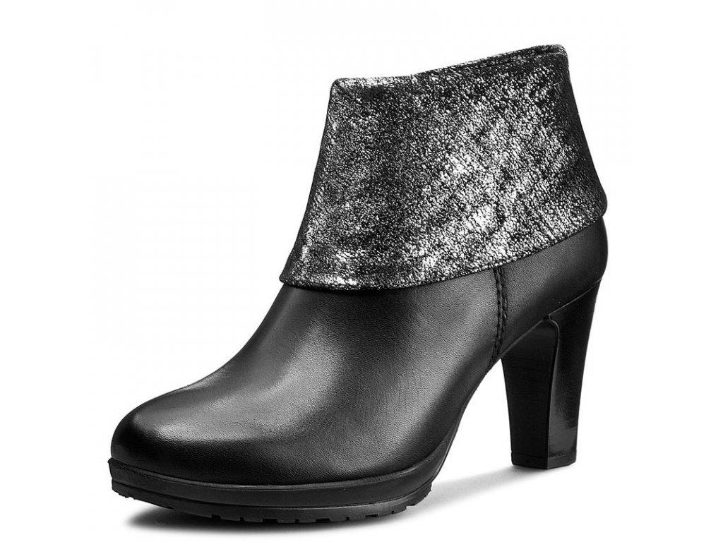 176dd6cc26f Tamaris-dámské kotníkové boty se stříbrným přehrnutím 1-25460-27 černá