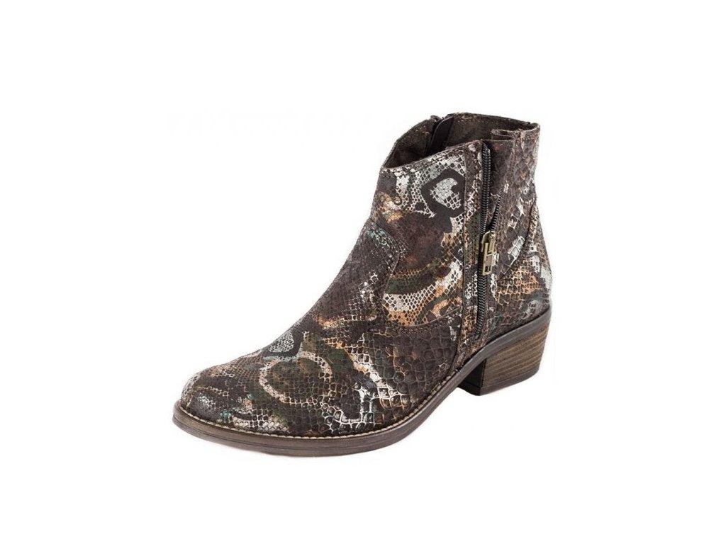 Tamaris-dámské kotníkové boty s hadím vzorem 1-25701-27/hnědá