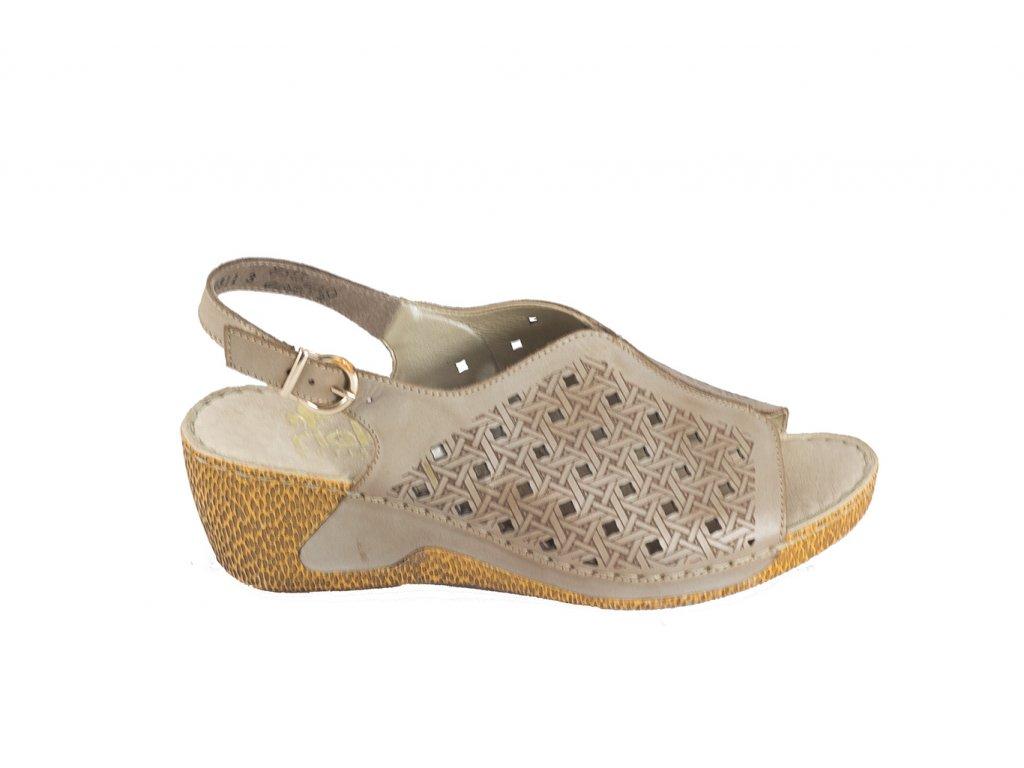 Rieker-dámské sandály s perforovaným vzorem na klínku 65696-62 šedá ... 9547f43471f