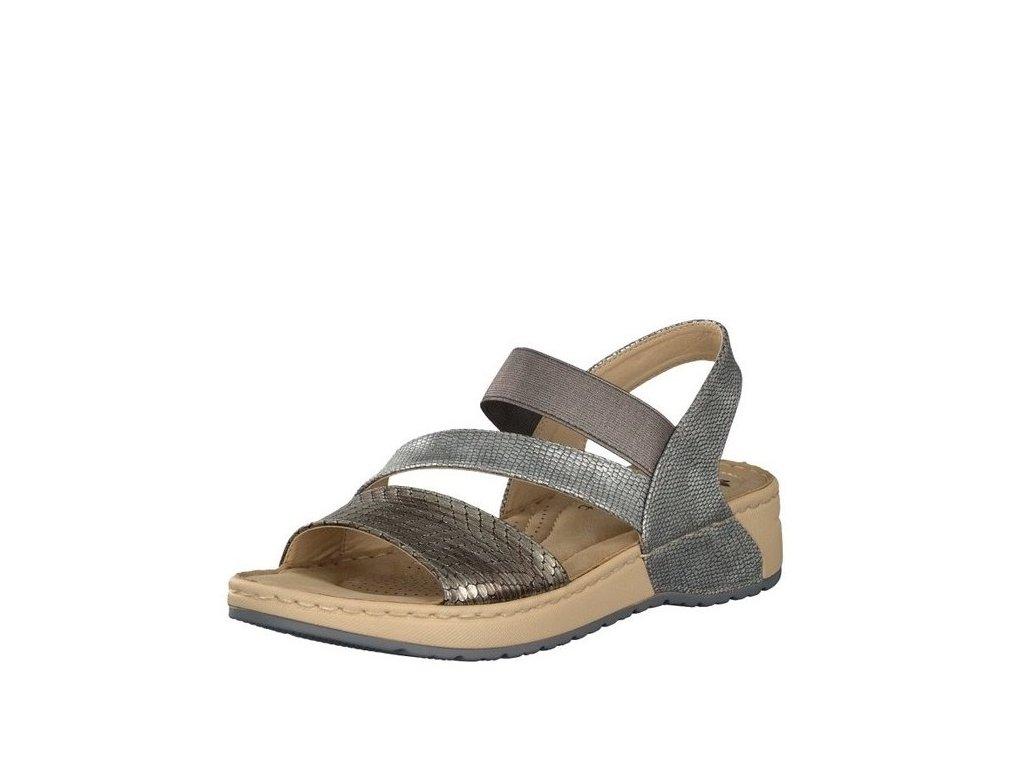 a12a999ec21d Rieker-dámské sandály s překříženými pásky zdobené metalickým vzorem ...