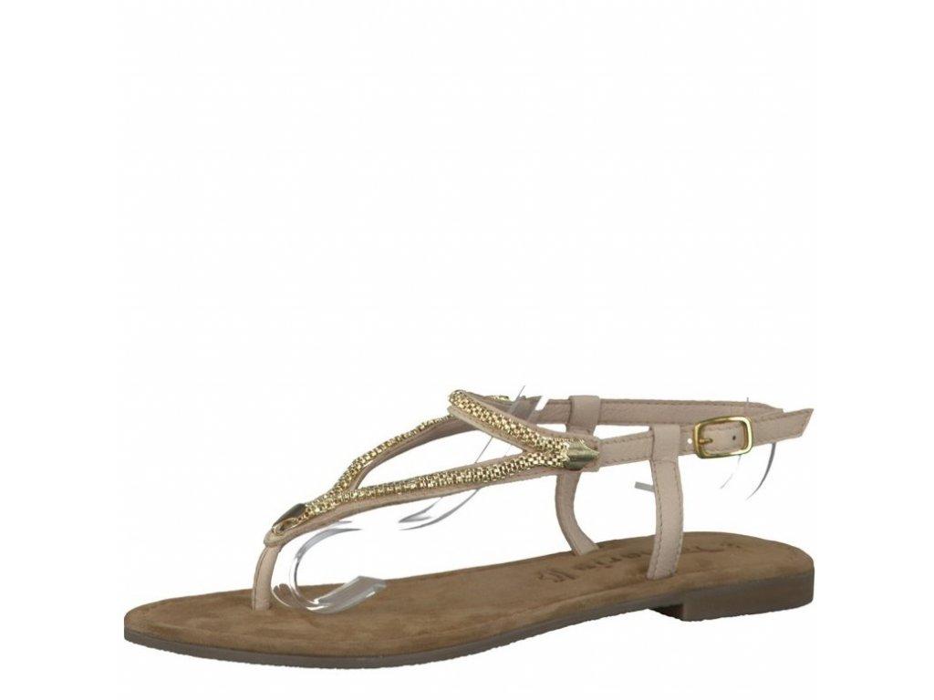 Tamaris-dámské sandály s páskem mezi prst zdobené zlatými řetízky 1-28111-28/béžová