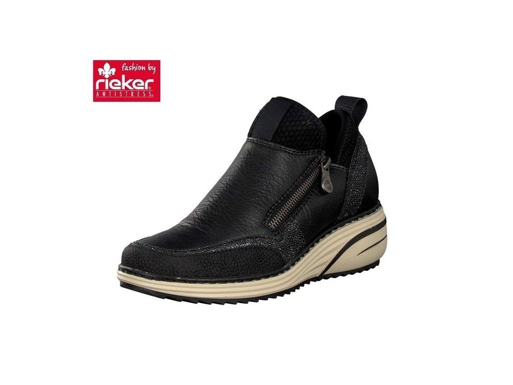 32a3f4bf2f Rieker-dámské kotníkové boty na výrazné světlé podrážce se zipem po ...